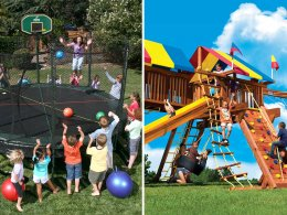 AlleyOOP Trampoline and Rainbow Swing Set