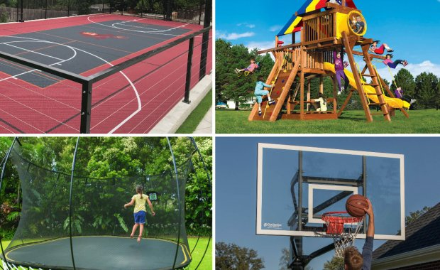 Basketball Court Swingset Trampoline Hoop