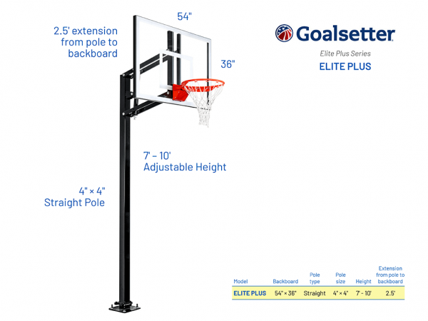 Basketball Hoop Adjustable In Ground Eliteplus Specs