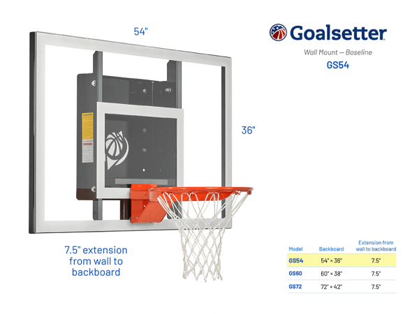 Basketball Hoop Wall Mount Baseline Gs54 Specs