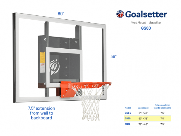 Basketball Hoop Wall Mount Baseline Gs60 Specs