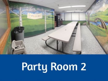Colorful Indoor Party Room #2 with plastic tables and colored chairs